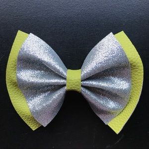 Lime green and silver faux leather glitter bow